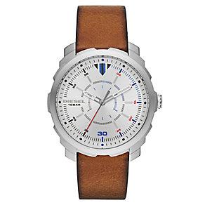 Diesel Mens Machinus Nsbb Silver Dial Brown Strap Watch - Product number 4500865