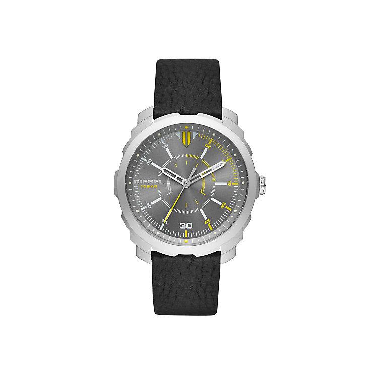 Diesel Mens Machinus Nsbb Gunmetal Dial Black Strap Watch - Product number 4500873