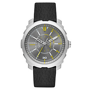 Diesel Men's Grey Dial Black Leather Strap Watch - Product number 4500873