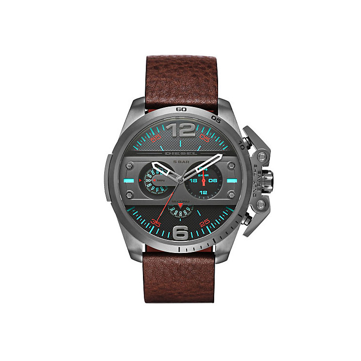 Diesel Mens Ironside Gunmetal Dial Brown Leather Strap Watch - Product number 4500881