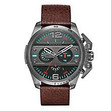Diesel Mens Ironside Gunmetal Dial Brown Leather Strap Watch - Product number 4500881