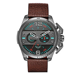 Diesel Ironside Men's Black Dial Brown Leather Strap Watch - Product number 4500881