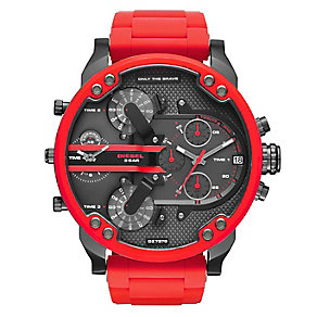 Diesel Daddy Men's Red Stainless Steel Bracelet Watch - Product number 4500911