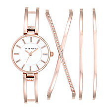 Anne Klein Ladies' Rose Gold-Plated Bracelet Watch Gift Set - Product number 4500946