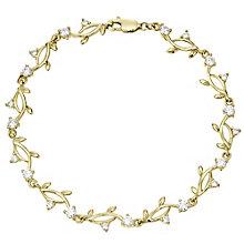 9ct Gold Cubic Zirconia Leaf Design Bracelet - Product number 4502973