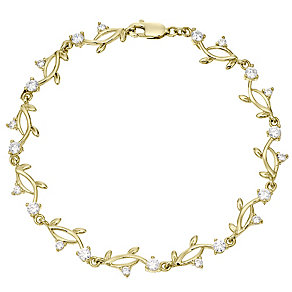 9ct Gold Cubic Zirconia Leaf Design Bracelet - Product number 4502973