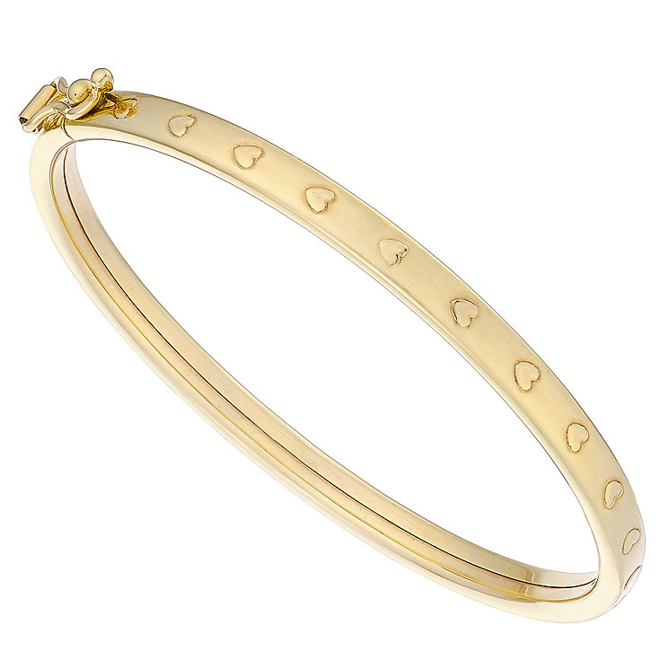 Kids 9ct Yellow Gold Heart Patterned Hinged Bangle - Product number 4503031