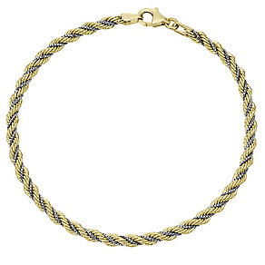 9ct Gold 2 Colour Rope Bracelet - Product number 4503627