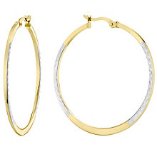 9ct Two Tone Diamond Cut-out Design Hoop Earrings - Product number 4503651