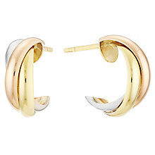 9ct Three Colour Twisted Hoop Earrings - Product number 4503686