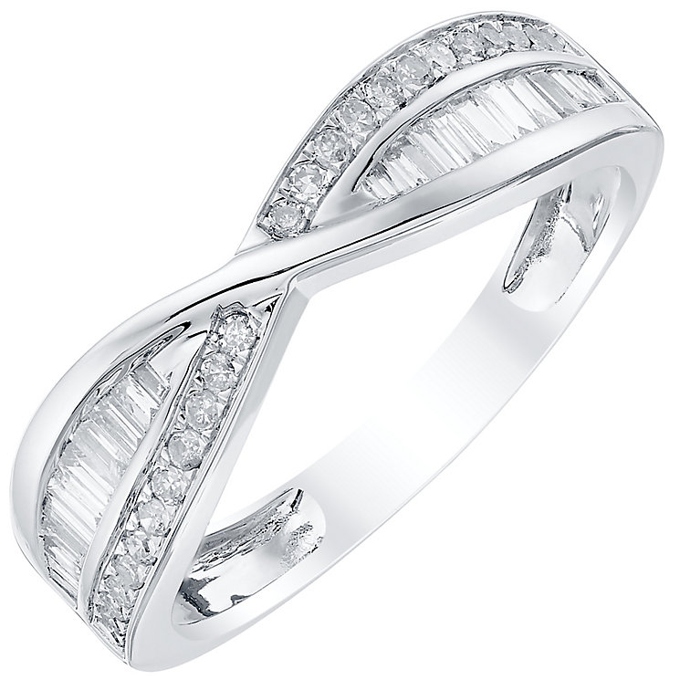 Platinum 33pt Diamond Crossover Band - Product number 4503694