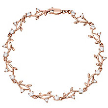 9ct Rose Gold Cubic Zirconia Set Leaf Design Bracelet - Product number 4503961