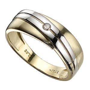 9ct Gold Diamond Crossover Signet Ring