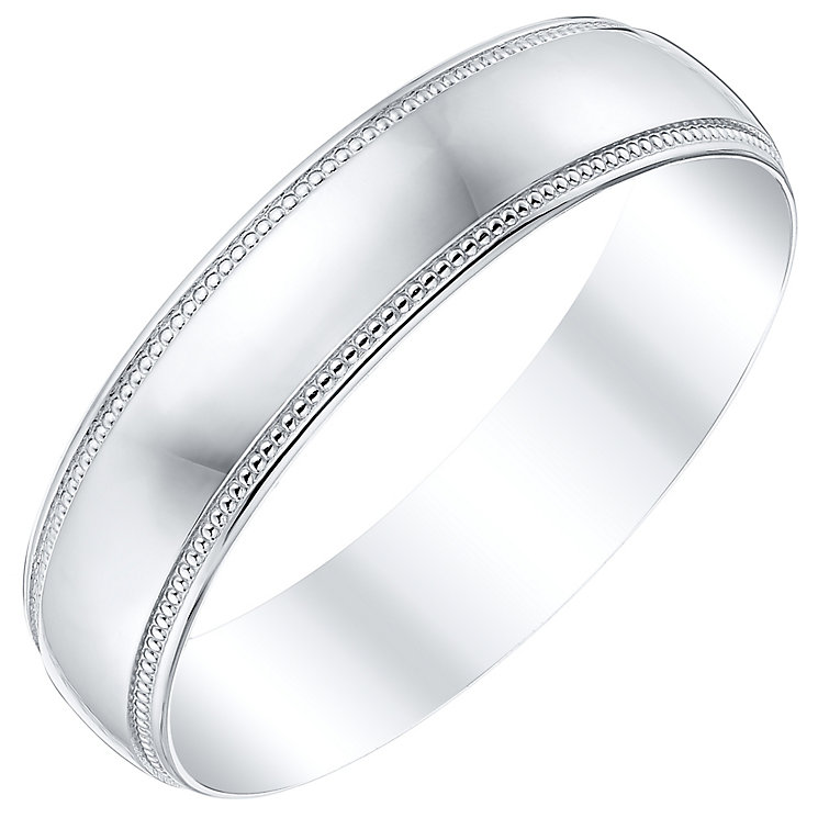 Men's Platinum 5mm Beaded Edge Band - Product number 4505395