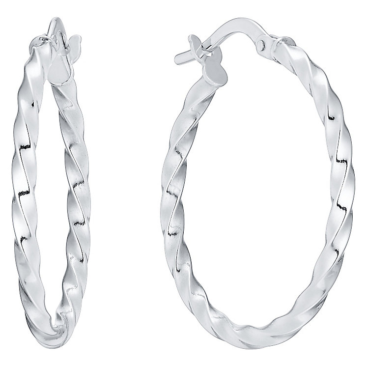 9ct White Gold 20mm Twist Creoles - Product number 4506170
