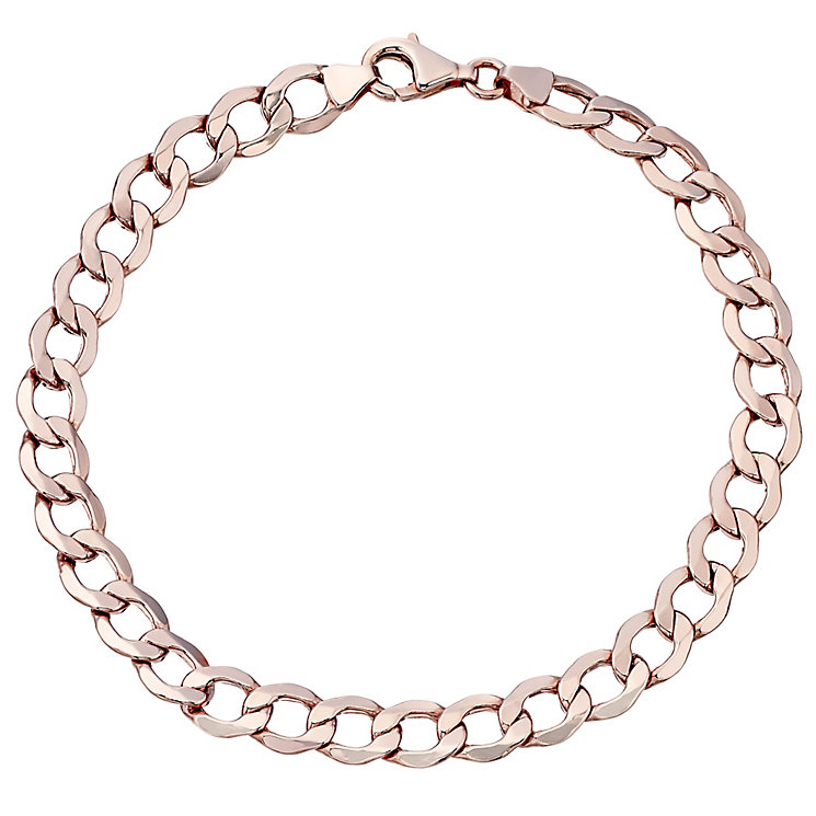 "9ct Rose Gold 8"" Hollow Curb Bracelet - Product number 4506529"
