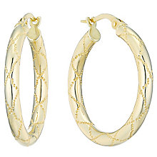 9ct Yellow Gold Patterned Creoles - Product number 4507002