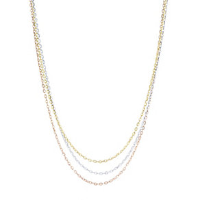 9ct Gold 3 Colour Triple Graduated Strand Necklace - Product number 4507061