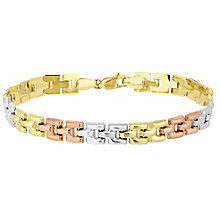9ct Gold 3 Colour Panther Link Bracelet - Product number 4507398