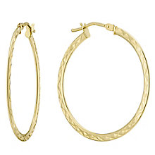 9ct Yellow Gold 30mm Patterned Creoles - Product number 4507444