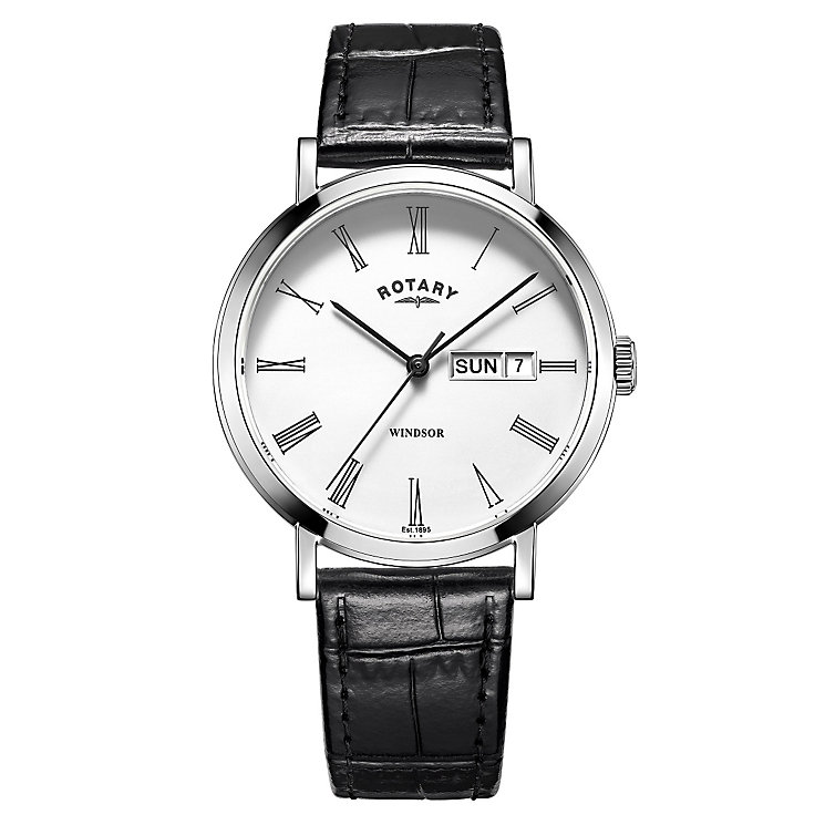 Rotary Men's Stainless Steel Black Leather Strap Watch - Product number 4507592