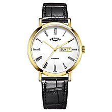 Rotary Men's Gold-Plated Black Leather Strap Watch - Product number 4507606