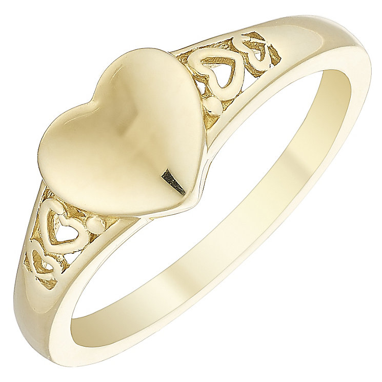 Children's 9ct Yellow Gold Heart Signet Ring Size F - Product number 4508408