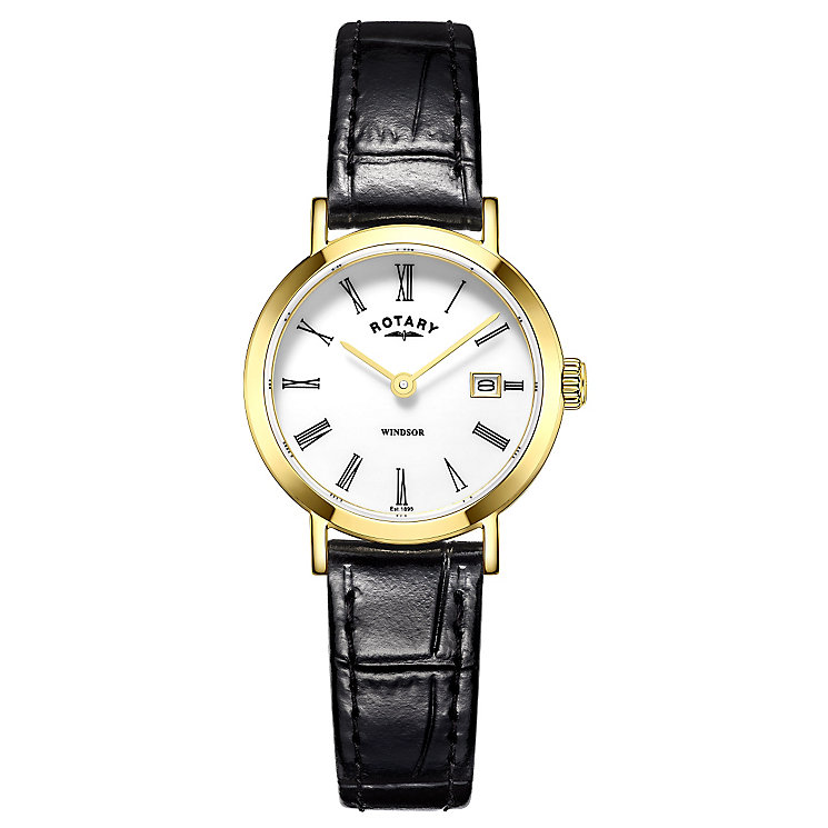 Rotary Ladies' Gold-Plated Black Leather Strap Watch - Product number 4508815