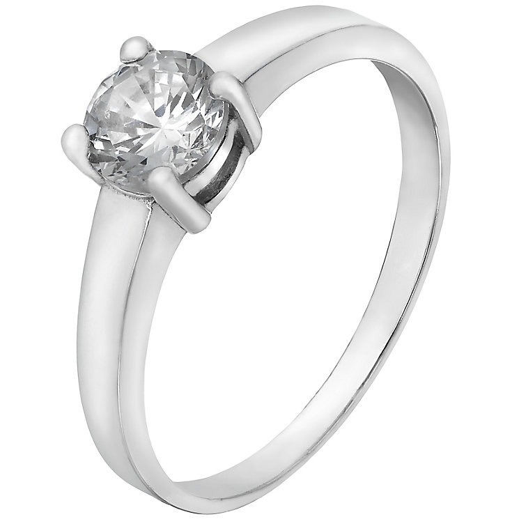 Sterling Silver & Cubic Zirconia Solitaire Ring Size L - Product number 4509013