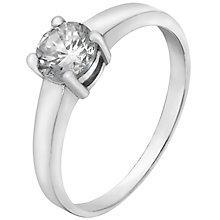 Sterling Silver & Cubic Zirconia Solitaire Ring Size P - Product number 4509196