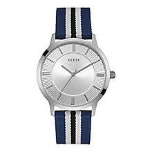 Guess Men's Round White Dial Blue Nylon Strap Watch - Product number 4509439