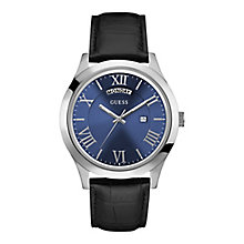 Guess Men's Round Blue Dial Black Leather Strap Watch - Product number 4509447