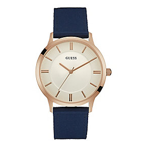 Guess Men's Round White Dial Blue Nylon Strap Watch - Product number 4509455