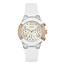 Guess Ladies' White Dial White Silicon Strap Watch - Product number 4509552