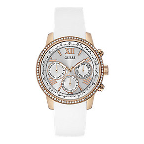 Guess Ladies' Rose Gold-Plated White Silicone Strap Watch - Product number 4509560