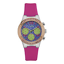 Guess Ladies' Round Purple Dial Pink Silicon Strap Watch - Product number 4509579