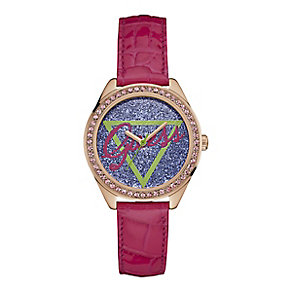 Guess Ladies' Round Purple Dial Pink Leather Strap Watch - Product number 4509587