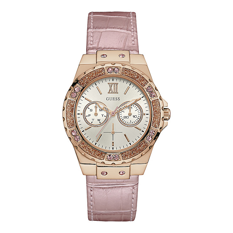 baby guess outlet vgrr  Guess Ladies' Round White Dial Pink Leather Strap Watch