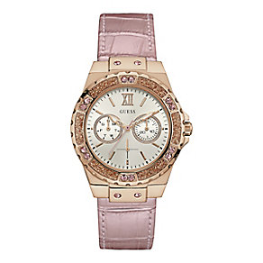 Guess Ladies' Round White Dial Pink Leather Strap Watch - Product number 4509595