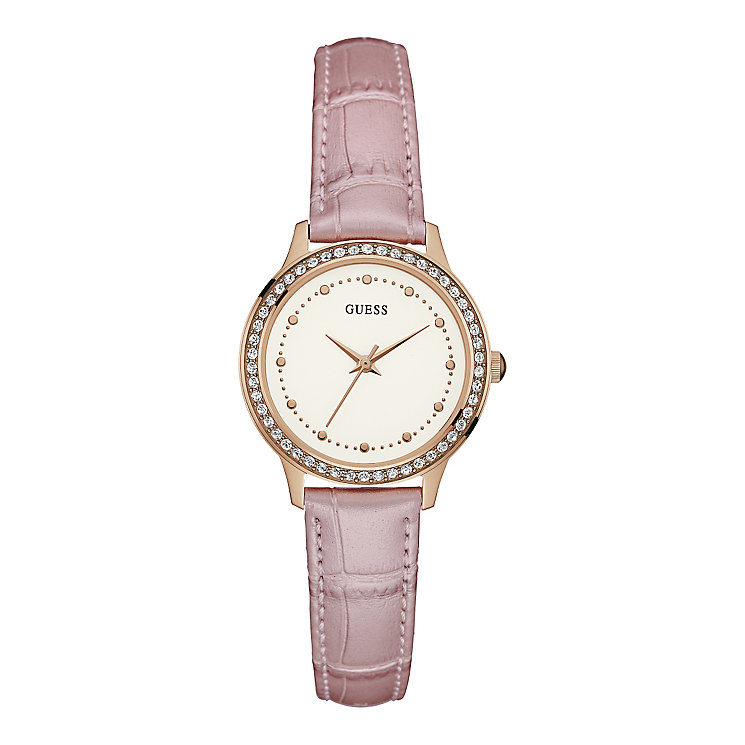 Guess Ladies' Round White Dial Pink Leather Strap Watch - Product number 4509609