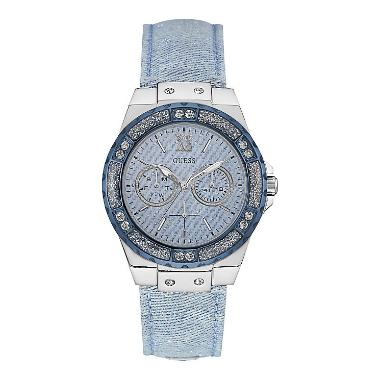 Guess Ladies' Round Blue Dial Blue Leather Strap Watch - Product number 4509714