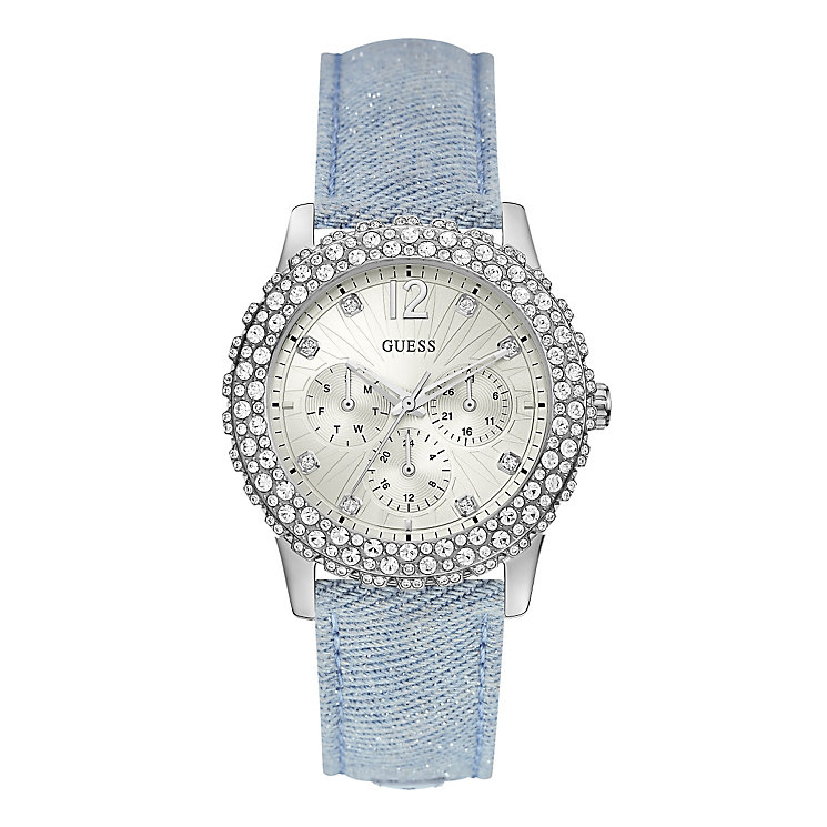 Guess Ladies' Stainless Steel Blue Leather Strap Watch - Product number 4509722