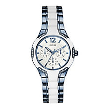 Guess Ladies' Round White Dial Two Tone Bracelet Watch - Product number 4509730