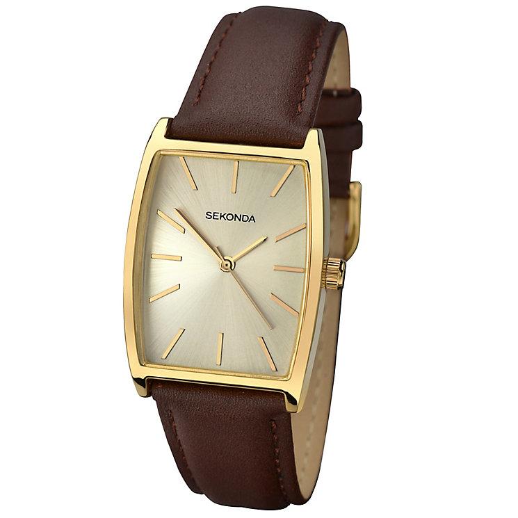 Sekonda Men's Tonneau Dial Brown Leather Strap Watch - Product number 4509749