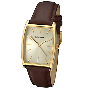 Sekonda Men's Tonneau Dial Brown Leather Strap Watch - Product number 4509749