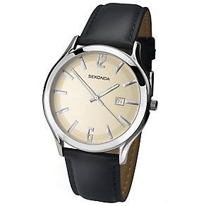 Sekonda Men's Cream Dial Black Leather Strap Watch - Product number 4509757