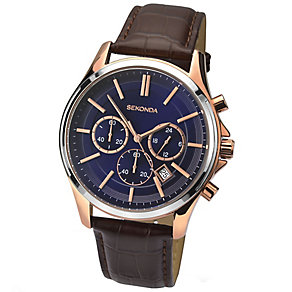 Sekonda Men's Blue Dial Leather Strap Watch - Product number 4509781