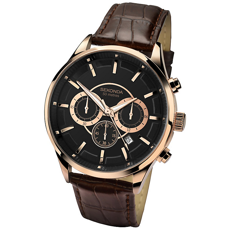 Sekonda Men's Black Multi Dial Brown Leather Strap Watch - Product number 4509811
