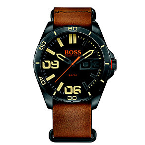 Boss Orange Men's Black Dial Brown Leather Strap Watch - Product number 4509919