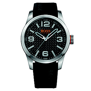 Boss Orange Men's Black Dial Black Rubber Strap Watch - Product number 4510089
